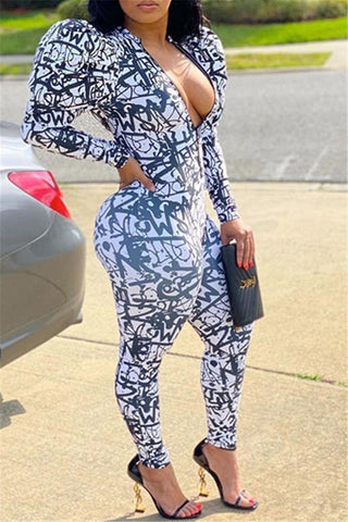 Printed Puff Sleeve Zipper Jumpsuit
