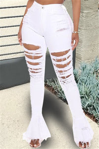 Distressed Flare Denim Pants