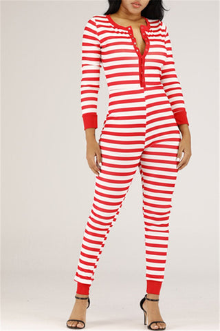 Chrismas Stripe Printed Jumpsuit
