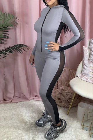 Color Splicing Hooded Zipper Jumpsuit