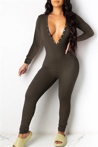 Solid Color V Neck Bodycon Jumpsuit