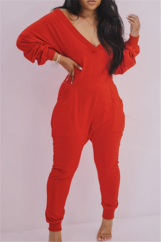 Casual Solid Color Haren Jumpsuit