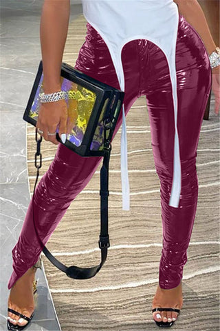 Solid Color Split PU Pants