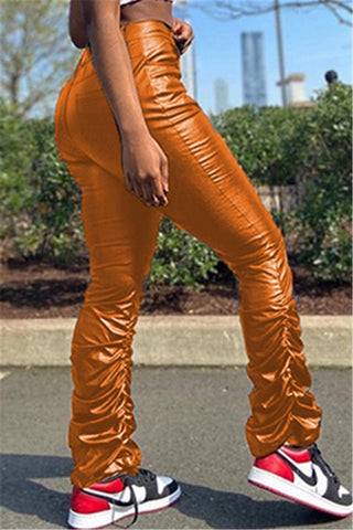 Solid Color Ruched Leather Pants