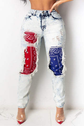 Printed Splicing Denim Pants