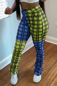 Color Splicing Lattice Ruched Pants