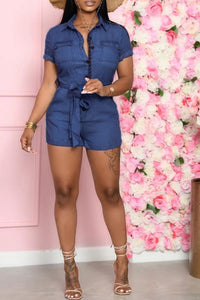 Denim Romper With Belt