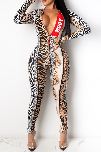 Leopard Printed Hooded Jumpsuit