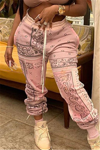 Casual Printed Drawstring Wrap Pants