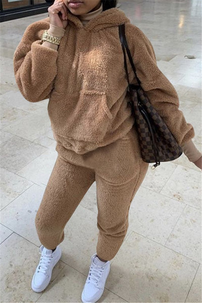 Casual Solid Color Hooded Sets