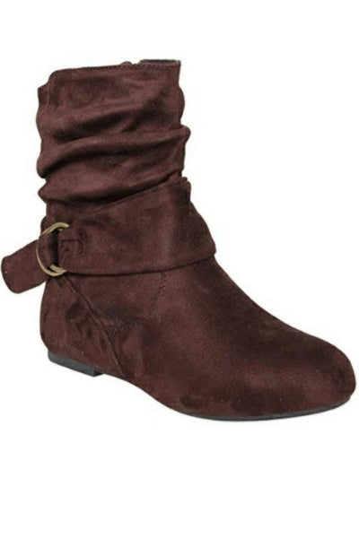 Solid Color Buckle Boots