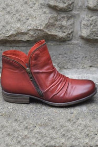 Solid Color PU Zipper Boots