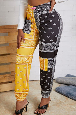 Casual Color Splicing Printed Pants