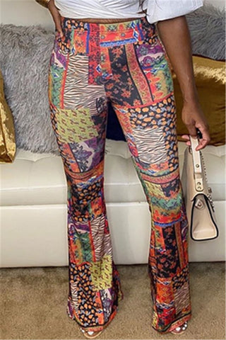 Color Splicing Printed Pants