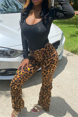 Drawstring Top& Leopard Pants Sets