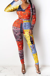 Color Splicing Printed Bodycon Sets