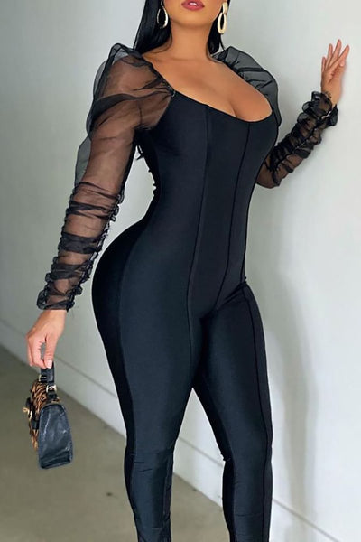 Net Yarn Ruched Sleeve Splicing Jumpsuit