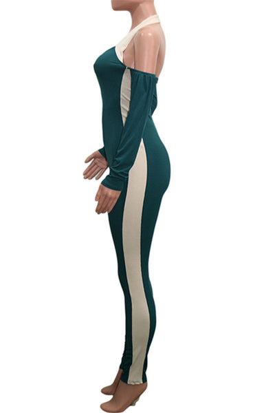 Color Splicing Halted Jumpsuit