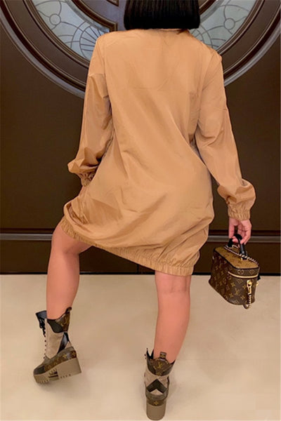 Casual Solid Color Zipper Dress