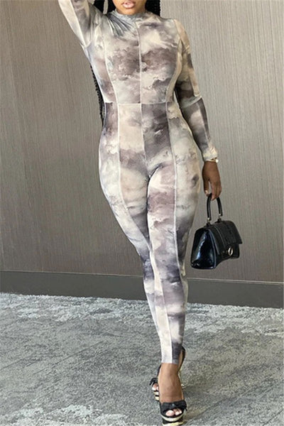 Tie Dye Printed Bodycon Jumpsuit