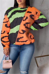 Casual Color Splicing Printed Hoodie