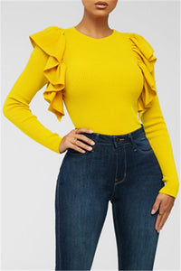 Solid Color Flounce Splicing Top