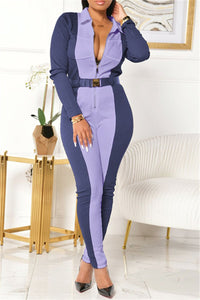 Color Splicing Bodycon Zipper Jumpsuit