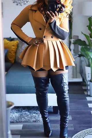 Color Splicing Jacket Dress