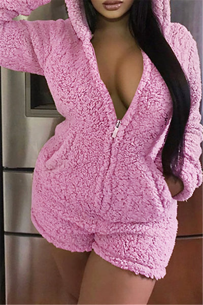 Solid Color Hooded Romper