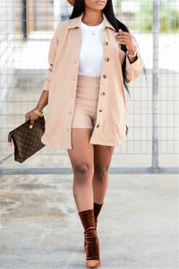 Solid Color Jacket& Shorts Two PC Sets