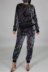Casual Sequin Splicing Two PC Sets