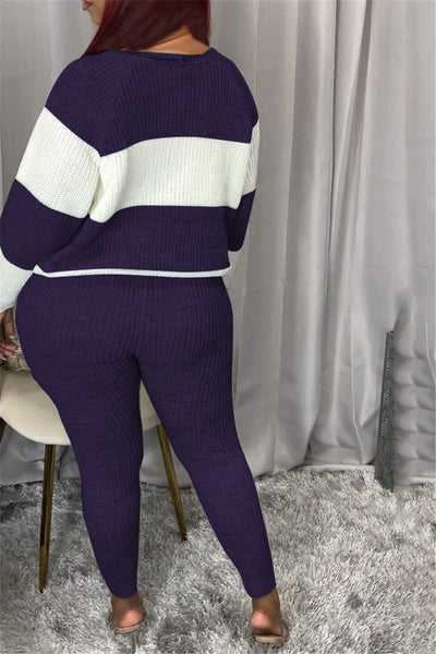 Casual Color Splicing Sweater Sets