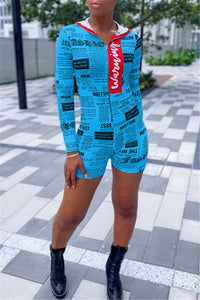 Newspaper Printed Hooded Romper