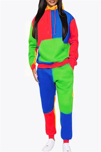 Color Splicing Hoodie& Pants Sets