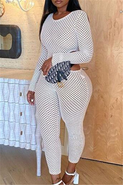Hollow Out Mesh Jumpsuit