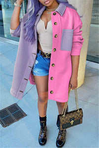 Casual Color Splicing Woolen Coat