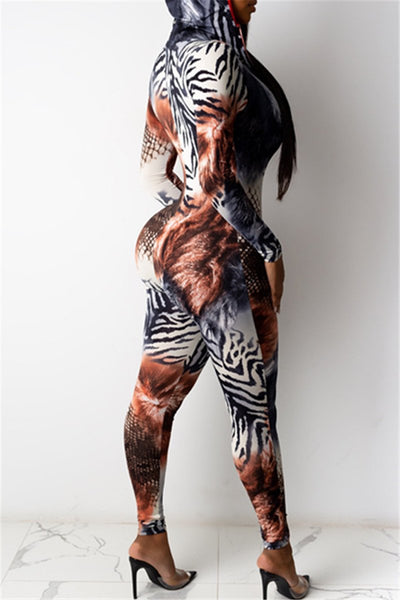 Printed Zipper Hooded Jumpsuit