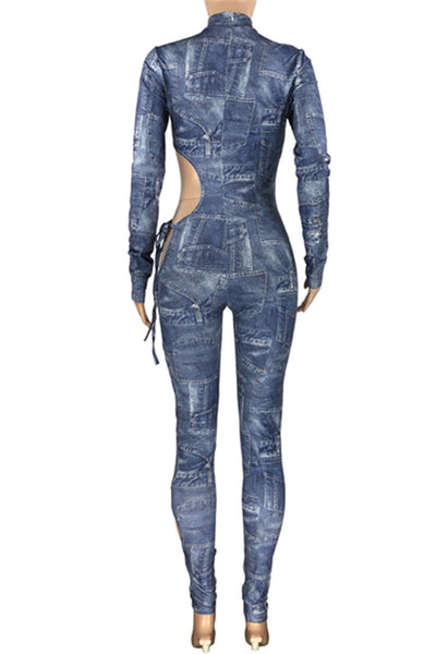 Denim Printed Hollow Out Jumpsuit