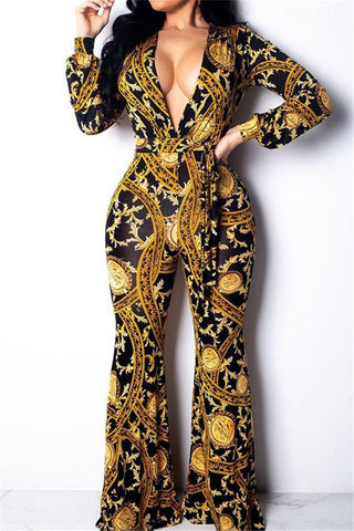 V Neck Printed Jumpsuit With Belt