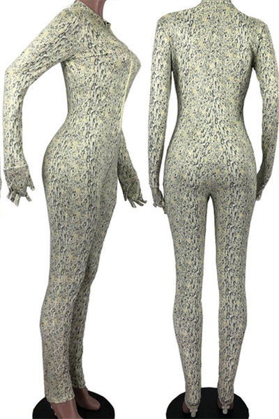 Zipper Printed Bodycon Jumpsuit
