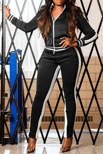 Stripe Splicing Zipper Sporty Sets