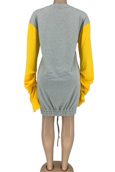 Casual Color Splicing Pile Sleeve Dress
