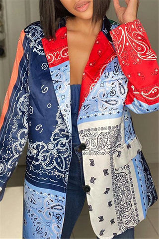 Color Splicing Printed Blazer