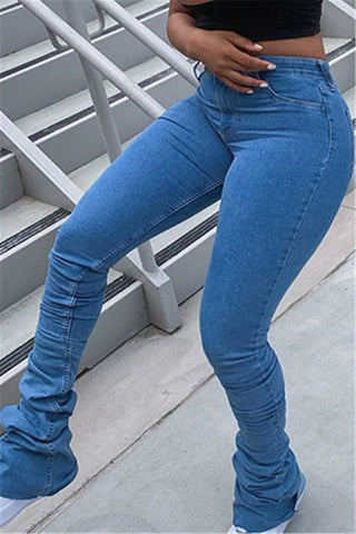Solid Color Pile Denim Pants
