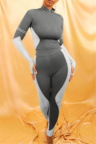 Color Splicing Bodycon Sporty Sets