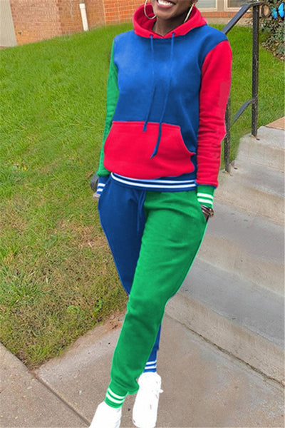 Casual Color Splicing Hooded Sets