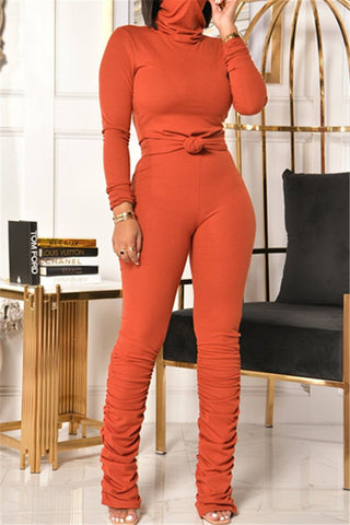 Solid Color High Collar Ruched Sets