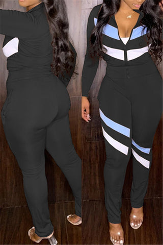 Stripe Splicing Sporty Two PC Sets