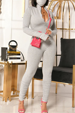 Solid Color Zipper Ruched Jumpsuit
