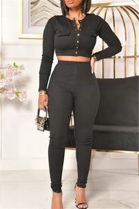 Solid Color Bodycon Two PC Sets